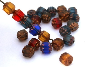 6 mm Jewel Tone Mix of Czech Cathedral/Barrel Beads with Gold Ends