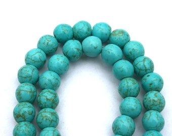 8 mm Turquoise Howlite, Magnesite, Round Beads