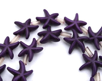 14 mm Purple Turquoise, Magnesite, Howlite Star Fish Beads