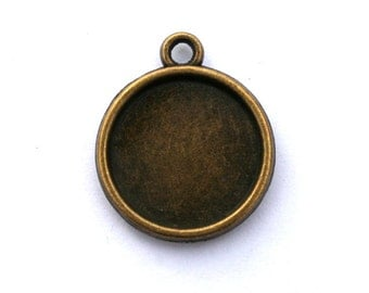 5 Antique Bronze Double Sided Cabachon Settings