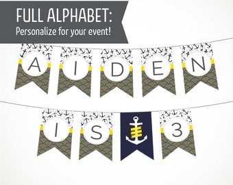 Printable Alphabet Banner in Nautical Navy & Yellow Theme with Anchors