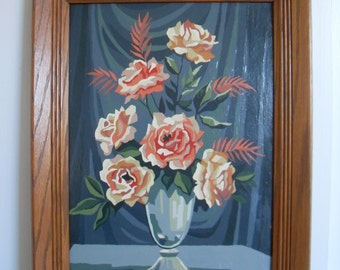 Vintage Paint by Number Painting of Roses