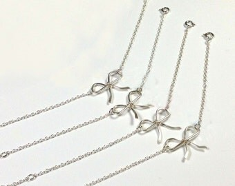 Free Shipping, Set of 6 sterling silver bow bracelets for bridesmaids, bridesmaids gifts, sterling silver bow bracelets.