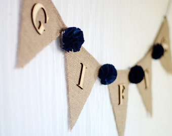 burlap wedding gifts banner / dark navy blue / shabby chic rustic wedding decoration / bridal baby shower / fabric flowers gift table sign