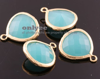 2pcs-18mmX15mmLarge Gold plated Brass Faceted Tear Drop With Glass pendants-Mint(M363G-E)