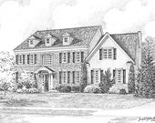 Reserved Listing for Elizabeth Custom Home Portrait-99&up 11x14 Graphite Pencil Original Your My Home Sketch Drawing