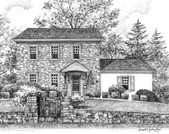 Custom Home Portrait- 8x10 Graphite Pencil Original Your My Home Sketch Drawing Christmas Birthday First Home Anniv Wedd Closing Gifts