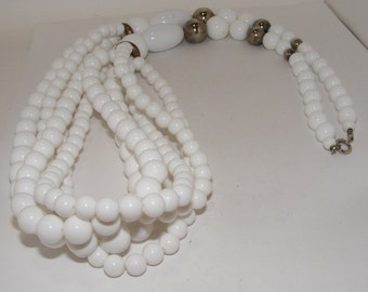 Vintage White Lucite Multistrand Necklace
