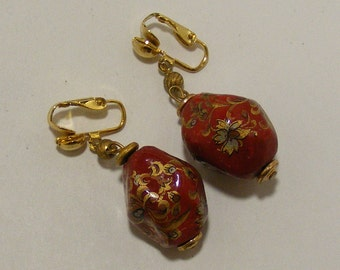 Vintage Ceramic Hand Painted Clip Earrings