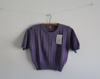 SALE 50 OFF Vintage Crop Top Purple Shirt Cotton Top Womens Clothing Spring Summer 1980s Size M/L New Old Stock