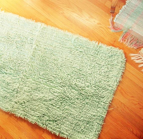 A Large Celery Or Mint Green Shag Rug Cotton Super Soft