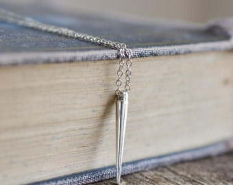 Spike Necklace, Silver Spike Necklace, Minimal Necklace, Silver Layering Necklace