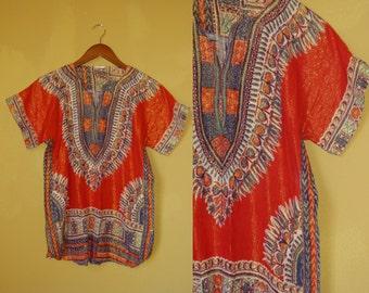 60s 70s India Boho Hippie groovy ethnic gypsy Colorful psychedelic dashiki gold metallic lurex sheer cotton gauze S/M tunic / top / blouse