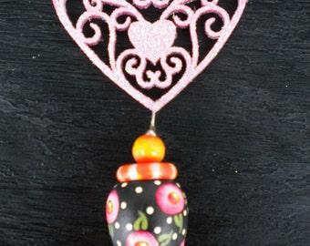 Pink Scrollsaw Heart Tassel Ornament, Ceiling Fan Pull, Whimsical, Christmas Valentines Day, Beth Baker Artist, Handmade