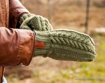 Man fingerless glove Men's Cable Knit Convertible Mitten with leather accent Man glove Christmas gift for him Man mitten Merino wool