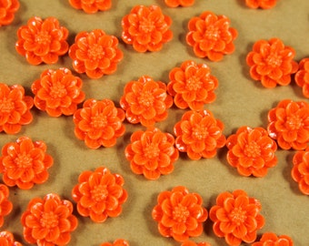 CLOSEOUT - 30 pc. Bright Orange Daisy Flower Cabochons 15mm | RES-394