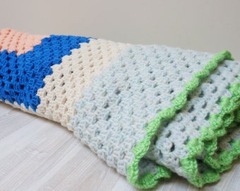 Baby blanket plaid crochet square white green blue pink knitting blankets girl kid toddler gift handmade ooak knit ready to ship chunky