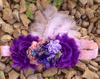 Pink and Purple Shabby Flower with feathers Headband
