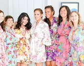 7 Custom lined bridesmaid robes and dressing gowns. Cotton robes lined at the skirt and bodice.