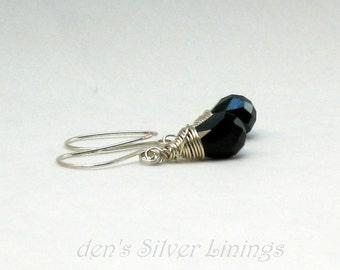Handcrafted Earrings, Dark Blue Teardrop Crystal Earrings, Sterling Silver Wire Wrapped
