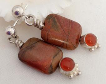 Earrings, Earthy Owyhee Jasper Beads with Carnelian Cabochons Bezel Set in Silver, Solid Sterling Silver Ball Post Earrings