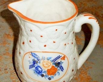 Vintage Pitcher, Floral, Orange, White, Blue, Creamer, Vase, Decanter, Syrup Pitcher, Pottery