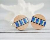 "Wedding Wood Cufflinks - 5/8""  Maple Wood Blue White Men's Wedding Silver Cufflinks"