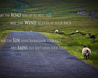 The Lonely Irish Road with an Irish Blessing - Sheep on Achill Island in County Mayo - Home Decor Scenic Landscape Photography Print