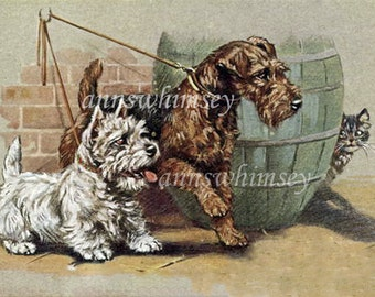 "Art Print Dogs Out For A Walk ~ In For a Scare"" Gift For Cat or Dog Lover  #186"