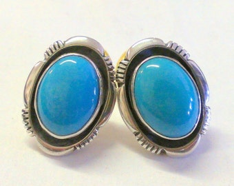 Navajo Turquoise and Sterling Silver Post Earrings Signed