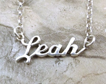 Sterling Silver Name Necklace -Leah - on Sterling Silver Rolo Chain in Length of Choice -1911
