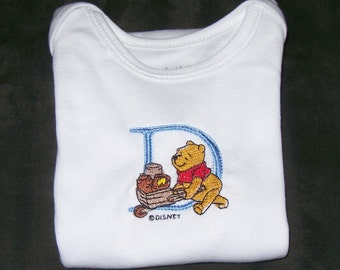 Personalized Baby Onesie with Letter and Winnie Pooh  Size 0-12 M