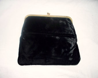 1960s Black Velvet Clutch - Purse  -  Vintage - Party Bag