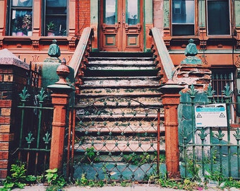 caution - fine art photography, 4x6 5x7 8x10, brooklyn bedstuy nyc brownstone building architecture door