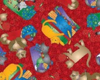 Quilting Sewing Knitting Cats on Red Cat Fabric Retired Out of Print FQ