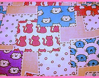 Patchwork Kitty Cats ~  Cat Fabric Retired Out of Print FQ