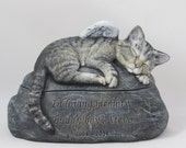 Ceramic Engraved Painted Cat Cremation Urn - hand made pet urn