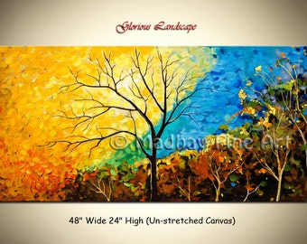 Abstract Original Landscape PAINTING Modern Art tree on Large canvas by Madhav - Size: 48'' x 24'' (122cm x 61cm)