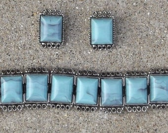 Fun Faux Turquoise Vintage Bracelet and Earrings Set