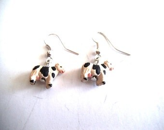 Cow Dangle Earrings, Hand Painted Ceramic Cow Earrings, Animal Jewelry, Farm Animal Jewelry, Cow Jewelry, Gift Jewelry