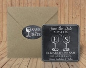Custom Coasters - Save the Date Coasters - Optional Craft paper envelopes with matching sticker - Chalkboard Wine glasses