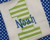 Personalized Birthday shirt for boys - 1st birthday, 2nd birthday, green, blue, name, applique, embroidered
