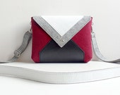Wine Gray White Black Wool Felt Genuine Leather Messenger Crossbody Bag