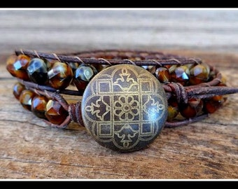 Beaded Leather Wrap Bracelet with Tiger Eye Brown Fire Polished Czech Glass Beads