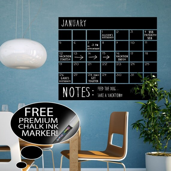 Chalkboard Calendar Decal : Vinyl chalkboard calendar wall decal by happywallz on etsy