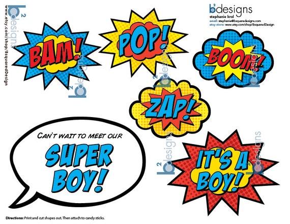 Superhero Baby Shower Cake Topper U2022 Itu0027s A Boy U2022 PC U2022 INSTANT DOWNLOAD