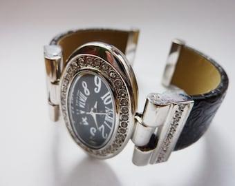 Womens silver watch bracelet,with Leather,Swarovski,Bridal Jewelry