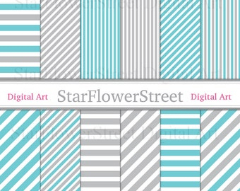 Blue, Gray, Diagonal, Stripe, Digital Paper, Instant Download, Scrapbook, Background, aqua,turquoise,grey,scrapbooking,photography,printable