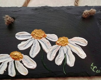Hand painted daisies on slate