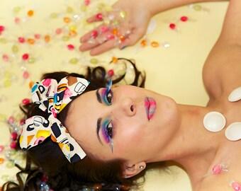 Cream Liquorice Allsorts Large Hair Bow